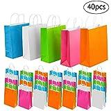 ZJW 40 pièces en Papier Cadeau de fête Sacs Cadeau Kraft Sac Traiter Sac en Papier avec poignée pour Anniversaire, thé, célébrations de Mariage et fête, Multicolore...