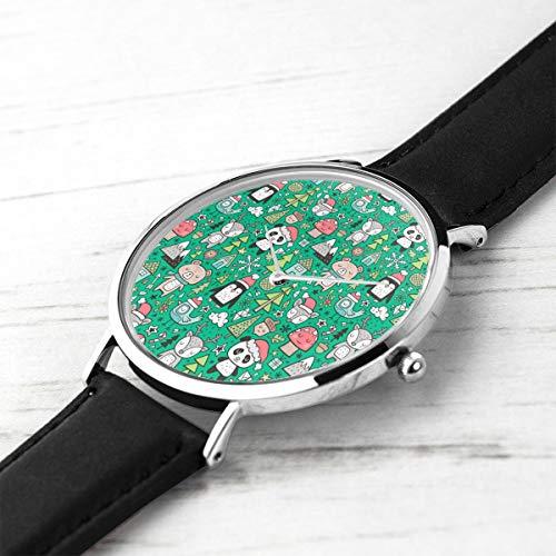 Unisex ultradünne Mode minimalistischen Armbanduhren Urlaub Ferien Tiere Doodle mit Panda, Hirsch, Bär, Pinguin und Bäumen auf grünem wasserdichtem Quarz Casual Watch Mens Womens