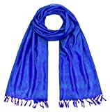 Maharanis Handgewebter Jacquard Seidenschal 100% Seide türkis-blau-lila 55cm x 180cm