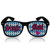 Partybrillen Bierfest Volksfest Bierzelt Festzelt Zubehör Accessoire Party Sonnenbrille mit Motiv Partyzubehör Spassbrille Funbrille mygafas Faschingbrille Fasnachts Sonnen Brille Motiv - Single Madl (Nerd schwarz)