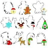 O-Kinee Keksausstecher Weihnachten Set, 11 Stück Ausstecher Ausstechformen Weihnachten, Plätzchenausstecher Plätzchenform Keksformen aus Edelstahl, für Motivtorten Tortendeko Kekse Backen Küche