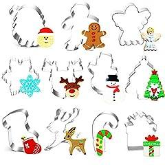 Idea Regalo - O-Kinee Formine Biscotti Natalizie, 11pz Tagliabiscotti Natalizi Set, Stampini Forme Biscotti Natale, Tagliapasta per Biscotti Bakeware Fondente Torta Paletta - Acciaio Inox