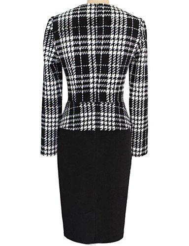 PU&PU Robe Aux femmes Moulante Travail , Couleur Pleine Col en U Mi-long Coton / Polyester black-xl