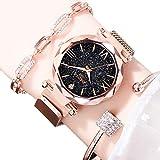EJOLG Mode Damen Armbanduhr,Mit leuchtenden,Milanese Mesh Magnetische Attraction Uhrarmband,Diamant formspiegel Damen Uhr