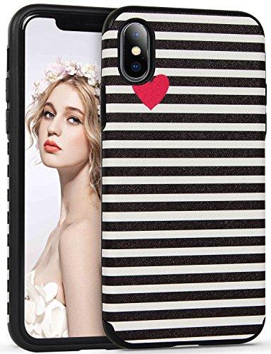 Imikoko iPhone X Hülle, Rundumschutz Handy Hülle Schutzhülle Weich Silikon TPU Case Streifen Super Sweet Cute für Girl Frauen Mädchen für iPhone X