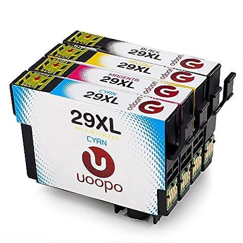 Uoopo 29 29XL Compatible Epson 29XL Cartouches d'Encre, 1 Noir / Cyan / Magenta / Jaune pour Epson Expression Home XP-235 XP-245 XP-247 XP-332 XP-335 XP-342 XP-345 XP-432 XP-435 XP-442 XP-445 Imprimante.