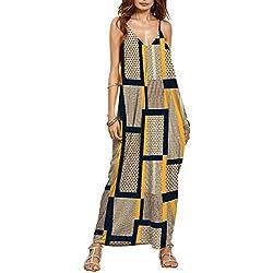 ChunTian Vestido de Tirantes Largos, Mujer Fluido Playa Maxi Style Boheme de Verano sin Mangas Ethnic Imprimir con Bolsillo