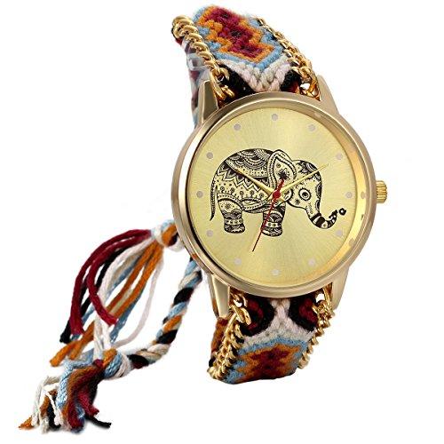 Jewelrywe Reloj de Pulsera Mujer Precioso Elefante Estilo tailandés Correa de algodón Trenzado, Reloj Cuarzo