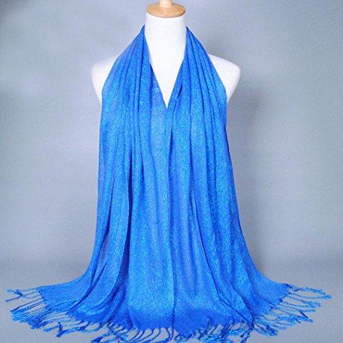 Transer ® Femelle Écharpes, Mode féminine Pure Color Nouvelles élégant long doux Echarpe Cotton Wrap Ladies Châle Grandes Foulards Belle Accessoires Bleu