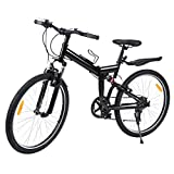 "Ridgeyard 26"" 7 velocidades Pieghevole Bici Pieghevole Bicicletta Mountain Bike Shimano (Negro)"