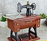 BIANJESUS Vintage Mini Nähmaschine Stil Kunststoff Spieluhr Tisch Schreibtisch Auto Dekoration Geschenk Spielzeug Kind Kinder