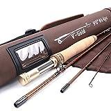 Maxcatch V-gold Fliegenrute IM12 Graphite 4-teilig Fliegenfischen Rute mit Cordura Rutentasche(Größe:4/5/6/8 wt)
