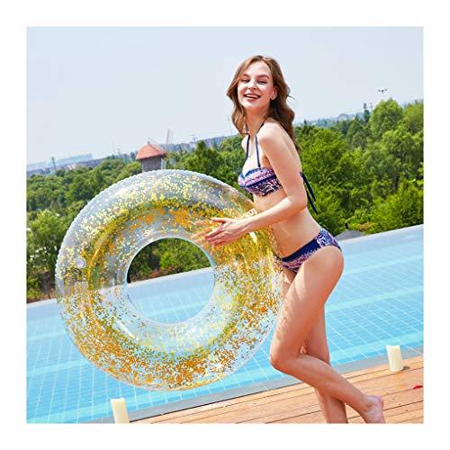 Schwimmring Erwachsene Glitzer Schwimmreifen luftmatratze Wasser Aufblasbare Schwimmtier Pool Floß Wasserspielzeug 36cm Schwimmring,Gold