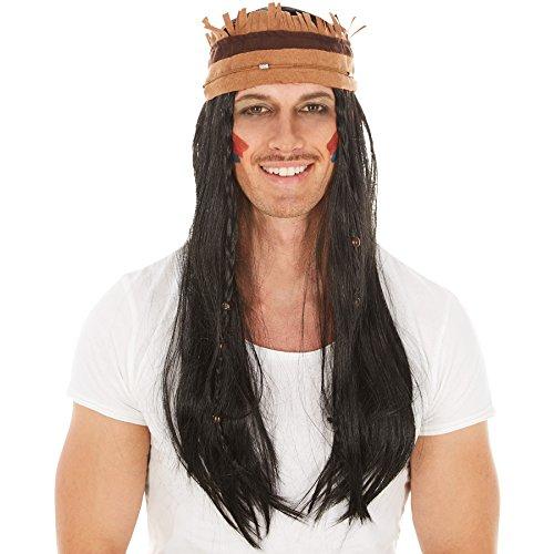 Perücke mit Haarband und Holzperlen Verzierung | 70 cm | Indianer Apache Indianerin (Mit Maske Haar Höhlenmensch)