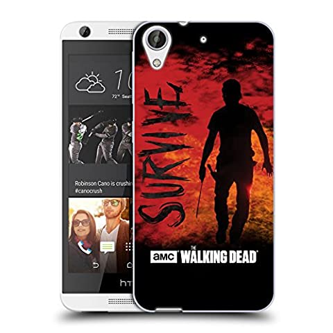 Officiel AMC The Walking Dead Réchappez De Rick Machette Typographie Étui Coque en Gel molle pour HTC Desire 626
