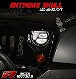 Razer Auto RZJHL-6506 07-16 Jeep Wrangler JK Extreme Skull LED Headlight Black,Hi-Bean + Low-Beam (Cree LEDs) + DRL, Die-Cast Aluminum Large Cooling heatsink 1 Pair