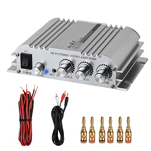 LiNKFOR Mini HiFi Amplificatore con 10M Cavo Audio + 3 Paia Connettori Banana Placcato Oro Stereo...