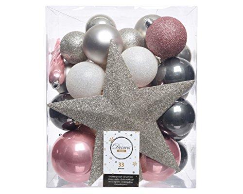 33er Set Kugelmix PVC Sternspitze Boules de Noël Décorations d'arbre Très Résistant Décorations Arbre de Noël Déco - Rose/Blanc/Gris