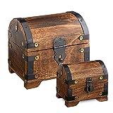 Casa Vivente – Geschenkboxen-Set – Große und Kleine Holztruhe mit Metall-Beschlägen – Schatztruhen aus Dunklem Holz – Spardose – Bauernkasse – Vintage – Verpackung für Geldgeschenke Oder Schmuck