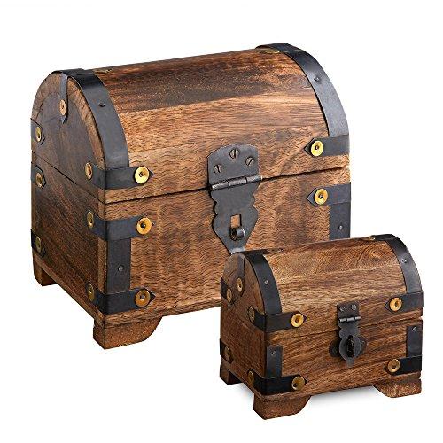 Casa Vivente – Geschenkboxen-Set – Große und Kleine Holztruhe mit Metall-Beschlägen – Schatztruhen aus Dunklem Holz – Spardose – Bauernkasse – Vintage – Verpackung für Geldgeschenke Oder Schmuck (Schatz-truhe-aufbewahrungsbox)