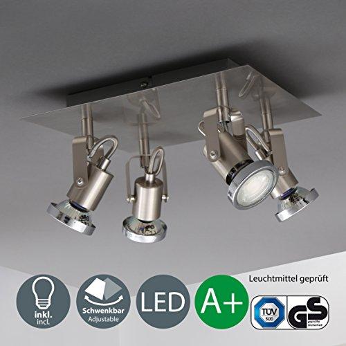 LED Deckenleuchte Inkl. 4 x 5W Leuchtmittel GU10 IP20 LED Strahler LED Deckenlampe Spots Wohnzimmerlampe Deckenspot Deckenstrahler Warmweiss Metall Matt Nickel 4 x 400lm 4 Flammig Drehbar