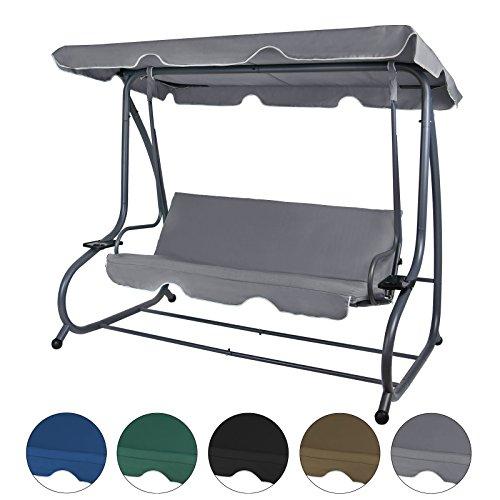 BB Sport 4-Sitzer Hollywoodschaukel klappbar mit Bettfunktion mit Sonnendach und Liegefunktion für 4 Personen, Farbe:Asphaltgrau