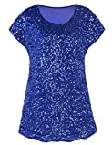 PrettyGuide Damen Abend Oberteile Funkeln Schimmer Glam Pailletten Bluse Blau XL/EU46-48