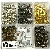 Yline 3080 - Assortimento di 100 Occhielli con rondelle da 8 mm in Rame Anticato, Ottone Antico, Brunito, con Attrezzi, Colore: Argento/Oro
