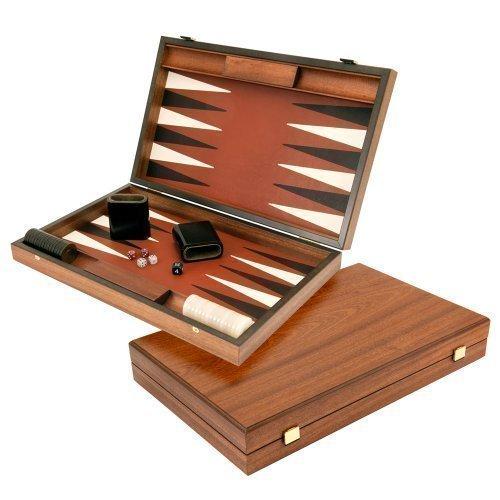 Luxus Sienna und Mahagoni Backgammon Set
