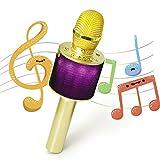 Nubeter Tragbares drahtloses Karaoke Mikrofon, Bluetooth-Lautsprecher Musik Spielen und Singen jederzeit für Erwachsene und Kinder Lautsprecher für Sprach- und Gesangsaufnahmen,kompatibel mit Android /IOS, PC oder Alle Smartphone (Gold)