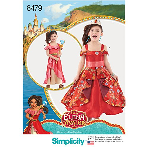 Simplicity 8479Muster 8479 Disney Elena of Avalor Kostüm für Kinder, Papier, Weiß, A (3-4-5-6-7-8) (Elena Von Avalor Kostüm)
