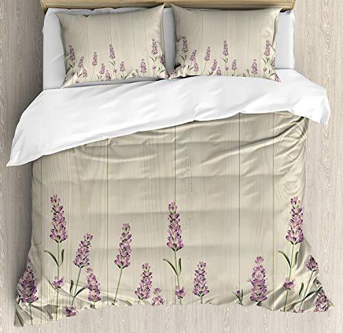 LnimioAOX Satz von Lavendel Bettbezug, Kräuter auf Holzbohlen Frühling Natur Botanik Illustration, Satz von dekorativen Bettwäsche mit 3 Kissenbezügen, blass lila grüner Salbei - Salbei Grüner Farbstoff