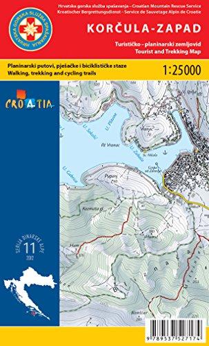Korčula Est / Ouest 1:25.000 Ensemble de cartes randonnée (Croatie)