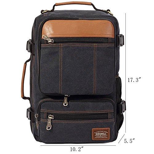 Rucksack Herren Damen Canvas Vintage KAUKKO Backpack Schulrucksack Vintage Laptoprucksack für Outdoor Camping Universität (Kaffee) (210) Schwarz