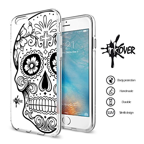 Inkover cover iphone 7 plus & 8 plus custodia cover guscio trasparente sottile slim fit tpu gel morbida design skull teschio messicano teschi messicani colorati tattoo tatuaggio