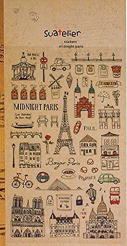 1 Bogen mit 56 kleinen PARIS FRANKREICH Stickern Aufkleber, tags im Vintage Nostalgie look, Stickergröße zw. 0,5 und 4,5 cm, country