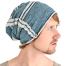 c73e3af4832fcc Casualbox All Season Slouch Beanie Hat Mens Womens Slouchy Baggy Reversible Men  Women Unisex Cotton Blue