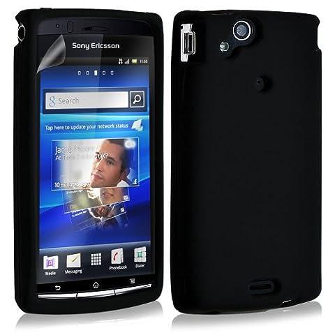 Housse etui coque silicone pour Sony Ericsson Xperia x12 Arc / Arc S couleur noir + film ecran