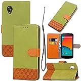 pinlu Custodia per LG Nexus 5 Pratico PU Pelle Flip Cover con Fessura per Carta e Magnetic Closure Shell 2 Colori Modo Denim Splice Disegno Verde