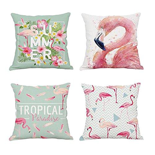 Chlove Sofa Kissenhülle Set Flamingos Gedruckt Leinen Baumwoll Kopfkissenbezug Kissenbezug Kuschelkissenhülle für Hauptdekoration Auto Zubehör 45x45cm (Gedruckt Kissenbezug Set)