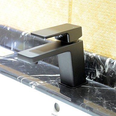 Preisvergleich Produktbild HONGLONG Art Deco einzigen Griff ein Loch in Chrom Waschbecken Wasserhahn, Schwarz