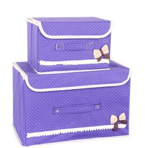 Okayji 2Pc Bow Non-woven Storage box bowknot home organizer for clothes girl's cute buttoned box storage box Household storage sorting box - Purple