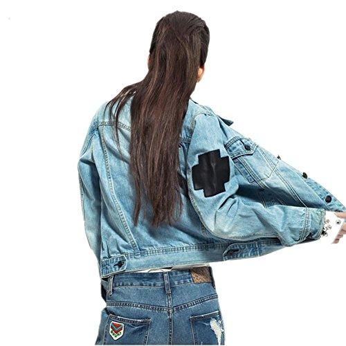 SHISHANG Veste cowboy à manches longues à manches longues à manches courtes à manches courtes à manches courtes à manches courtes Light Blue