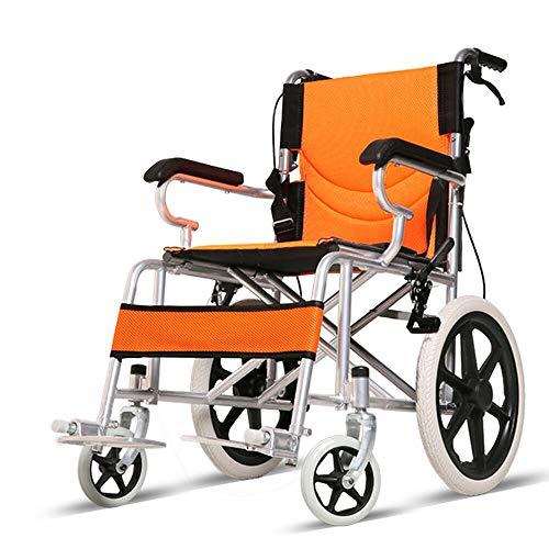 Transportrollstuhl Reiserollstuhl Rollstuhl Medical Verstellbare Fußstützen, Orange