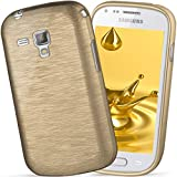 moex Samsung Galaxy Trend Plus | Hülle Silikon Gold Brushed Back-Cover TPU Schutzhülle Ultra-Slim Handyhülle für Samsung Galaxy Trend Plus/Trend Case Dünn Silikonhülle Rückseite Tasche
