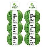 100% Baumwolle (Pima Cotton) DK in 12 Farben - 300g Garn (6 x 50g) - Weiche Wolle zum Stricken & Häkeln - Strickwolle von Hansa-Farm - Grün