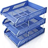 Sayeec - Robusto portadocumenti da scrivania con 3cestelli in plastica e 8divisori ad asticella in metallo, organizer per documenti da conservare o tenere a portata di mano 3 Tier Blue