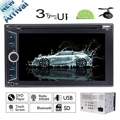 EINCAR Wince Universal Car Audio In Dash 6.2 Zoll Touchscreen Doppel-DIN-HD AM FM Radio Autoradio-Stereo keinen GPS-Navigation Head Unit Auto Empfänger mit freier Rückfahrkamera und Fernbedienung