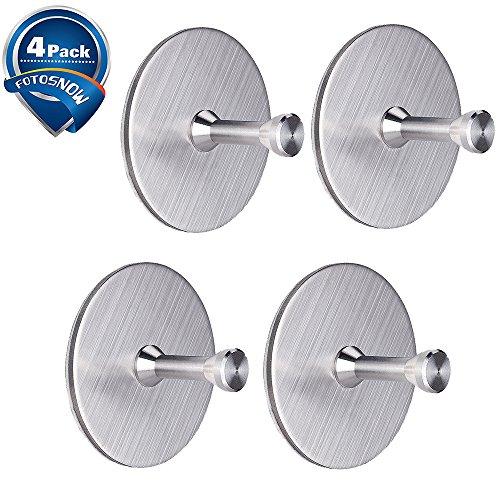 Self Adhesive Hooks Heavy Duty Wall Hooks Stainless Steel Waterproof Coat Hooks for Key Robe Towel Bag Bathroom Kitchen Garage-4 Packs