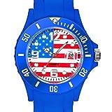 Taffstyle® Fanartikel Silikon Armbanduhr Gummi Trend Watch Quarz Fan Uhr mit Fussball Weltmeisterschaft WM & EM Europameisterschaft 2016 Länder Flaggen Style - USA